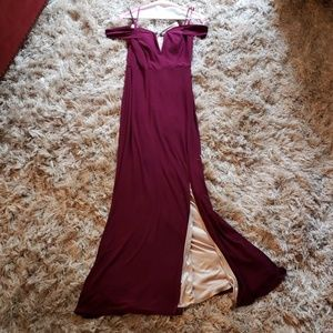 JODI KRISTOPHER 5 plum slit leg prom dress